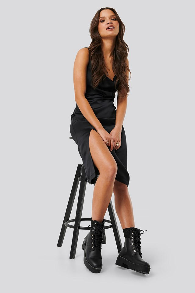 Satin Slit Dress Black