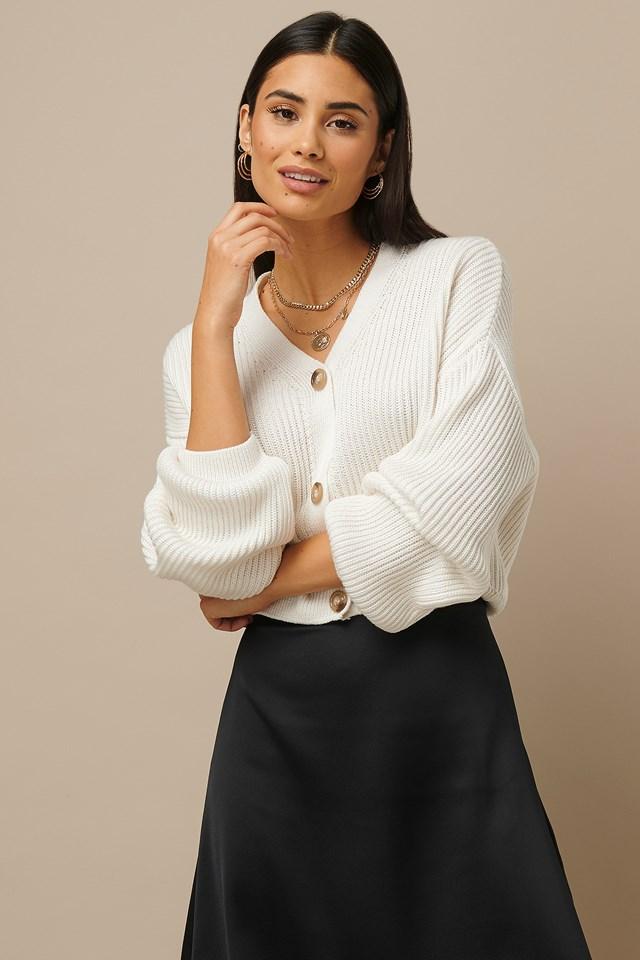 Knitted Big Sleeve Cardigan White
