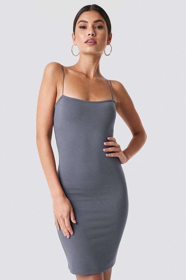Bodycon Spaghetti Strap Dress Grey