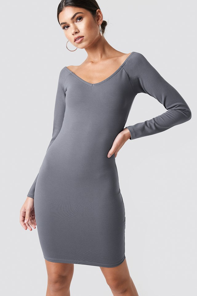 Off Shoulder Fitted Dress Grey