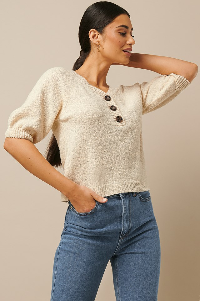 Vintage Look Knitted Top Offwhite