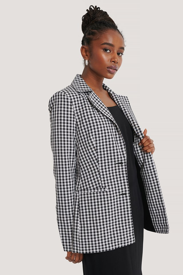 Fitted Checkered Blazer Checkered