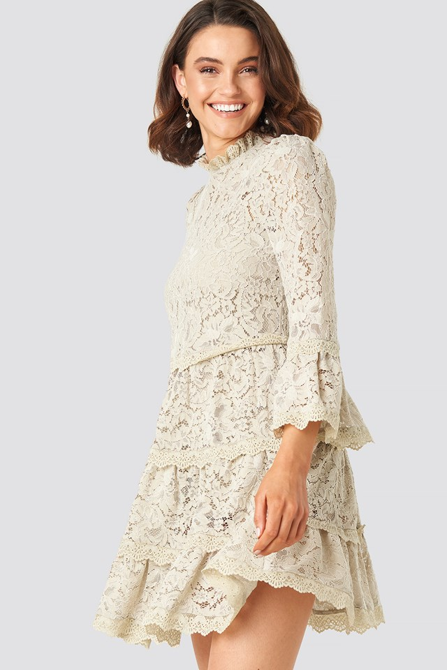 High Neck A-lined Lace Dress Beige
