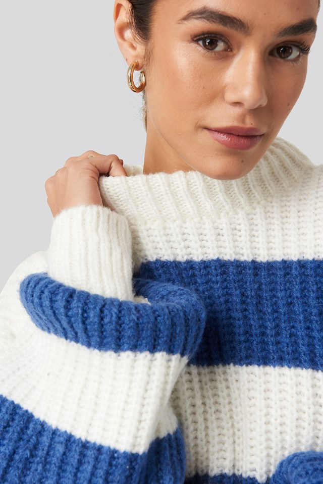 Striped Oversized Knitted Sweater White/Blue