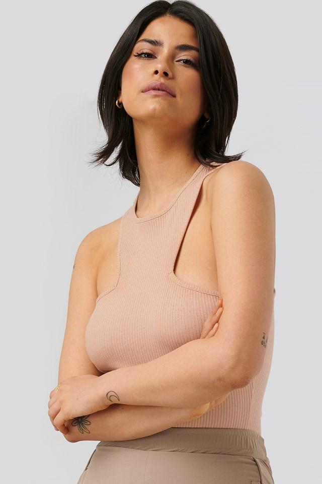 Detailed Neckline Top Dusty Blush