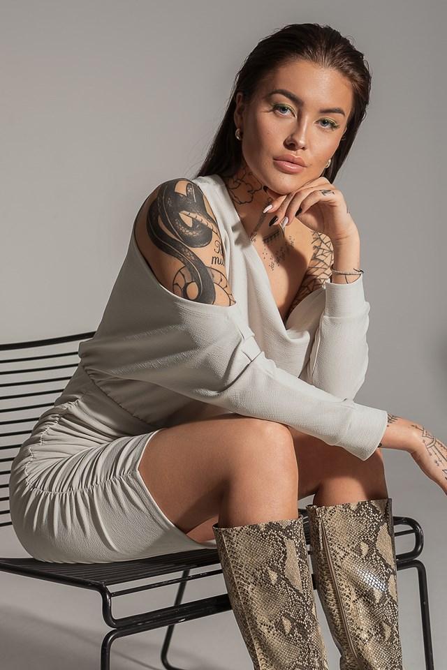 Draped Bare Shoulder Dress Grey