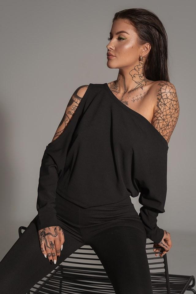 Draped Bare Shoulder Top Black