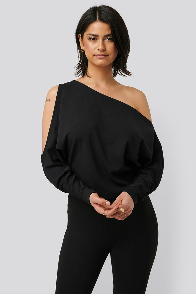 Draped Bare Shoulder Top Black