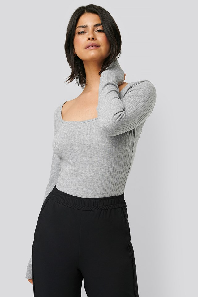 Rib Long Sleeve Top Grey Melange