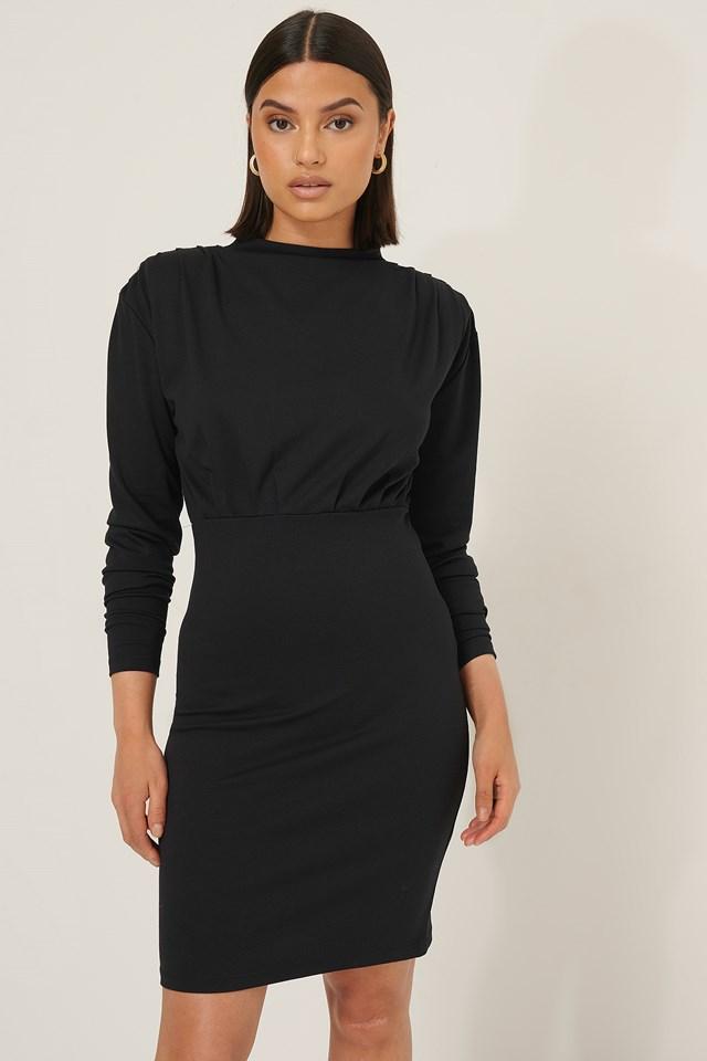Big Shoulder Jersey Dress Black