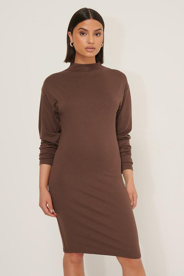 Long Sleeve Jersey Dress Cocoa