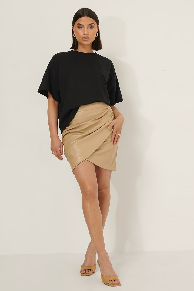 Overlap PU Mini Skirt Beige