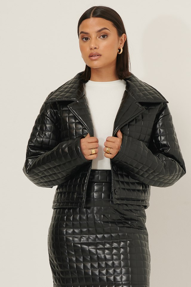 Quilted Cropped Jacket Black