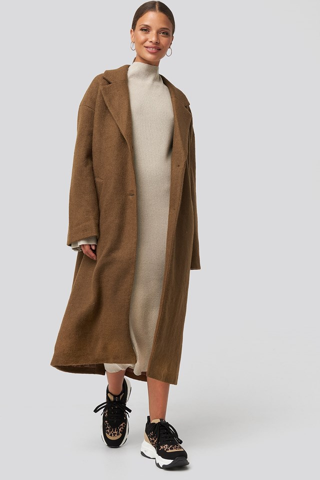 Big Button Long Coat Brown Outfit