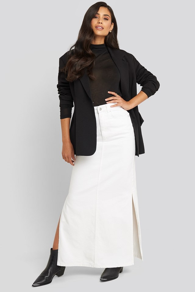 Side Split Maxi Denim Skirt White Outfit