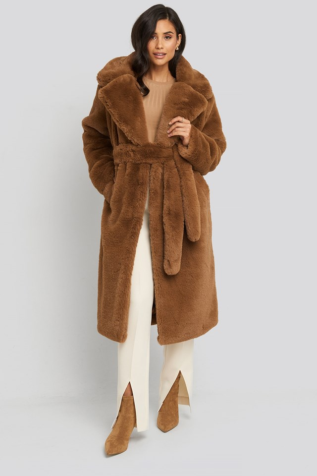 Soft Faux Fur Long Coat Brown Outfit