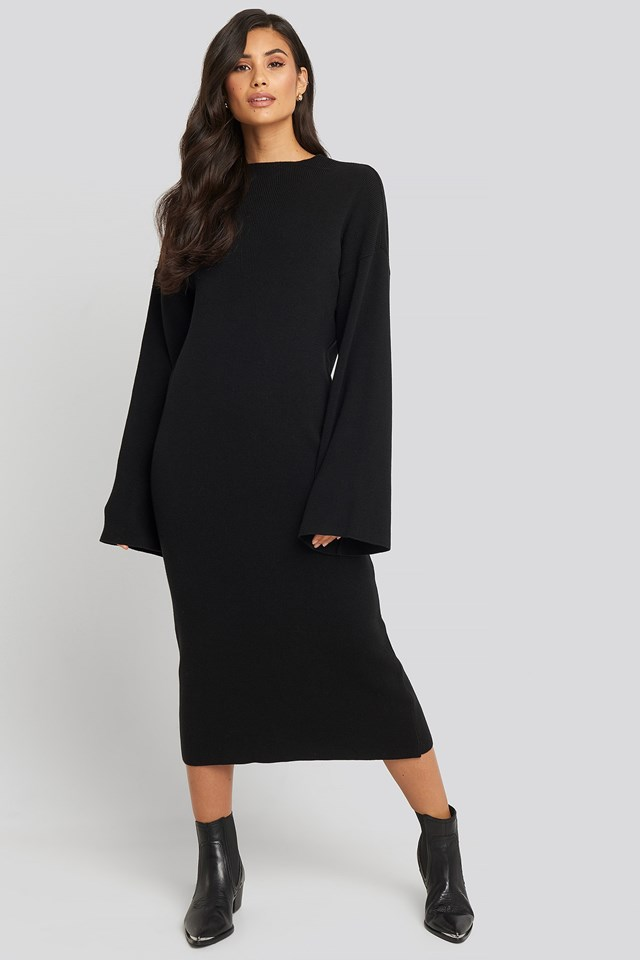 High Neck Wide Sleeve Knitted Dress Black Outfit
