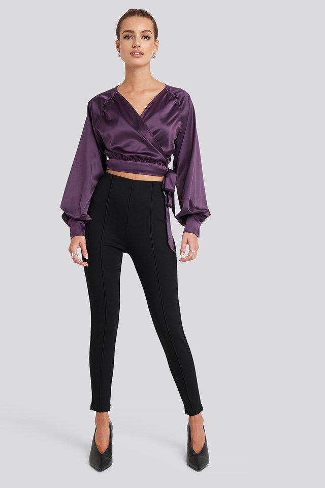 Wrap Front Cropped Blouse Purple Outfit