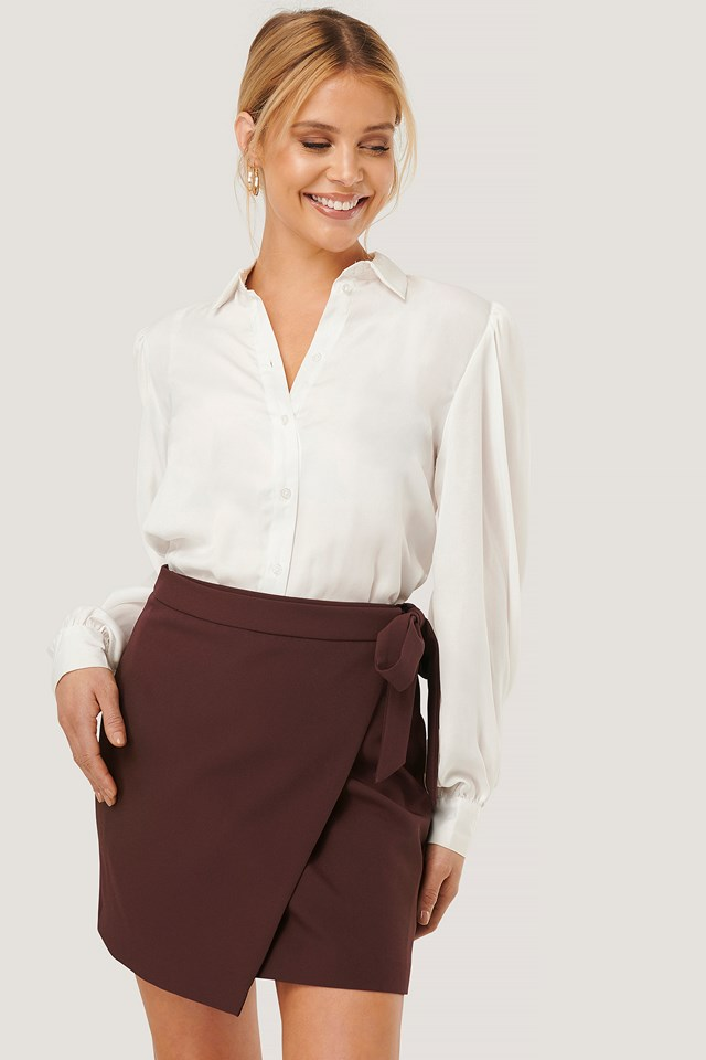 Overlap Tie Mini Skirt Chocolate