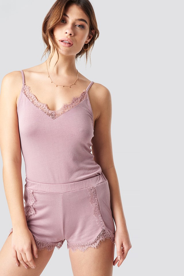 Overlapped Lace Detailed Shorts Dusty Pink