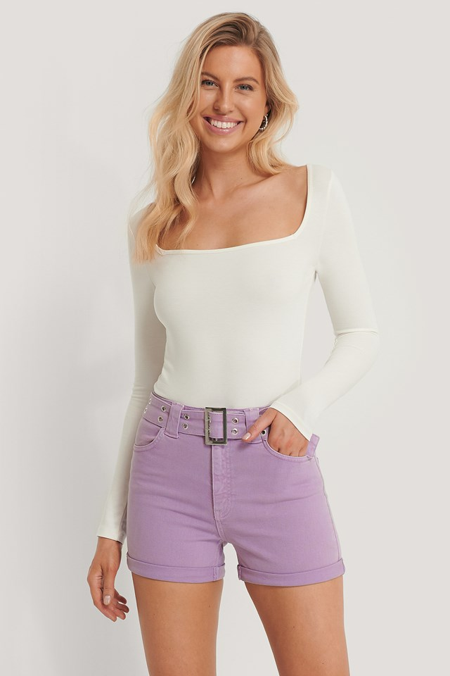 Organic Belted Denim Shorts Wild Orchid
