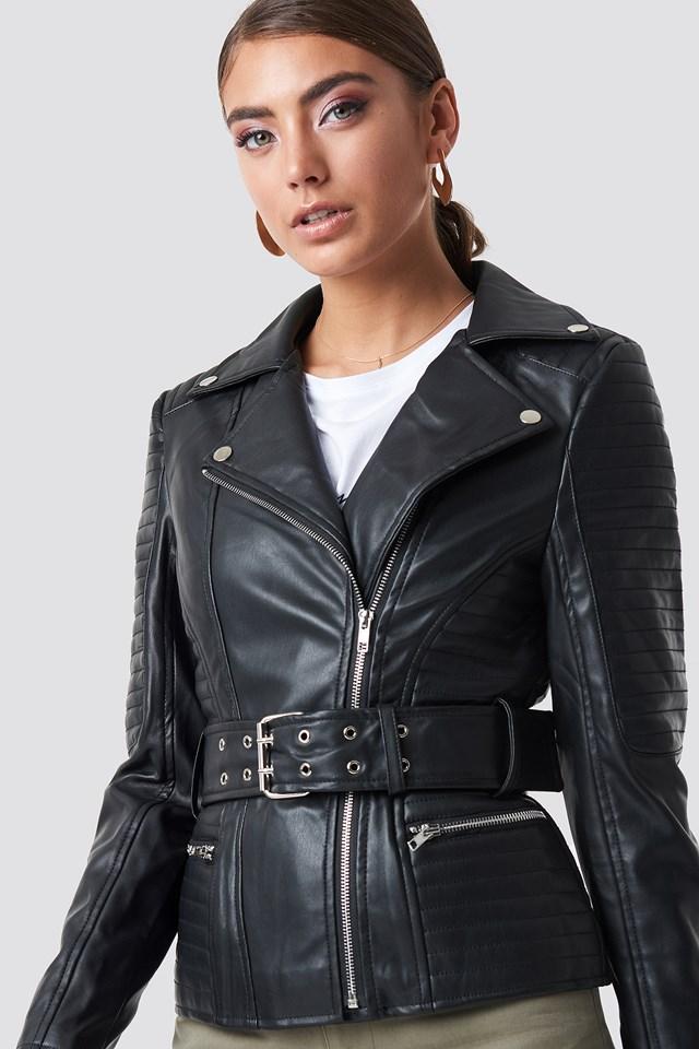 Belted Faux Leather Jacket Black