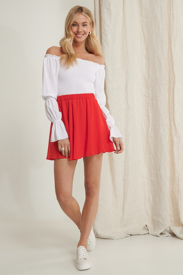 Recycled Circle Mini Skirt Red