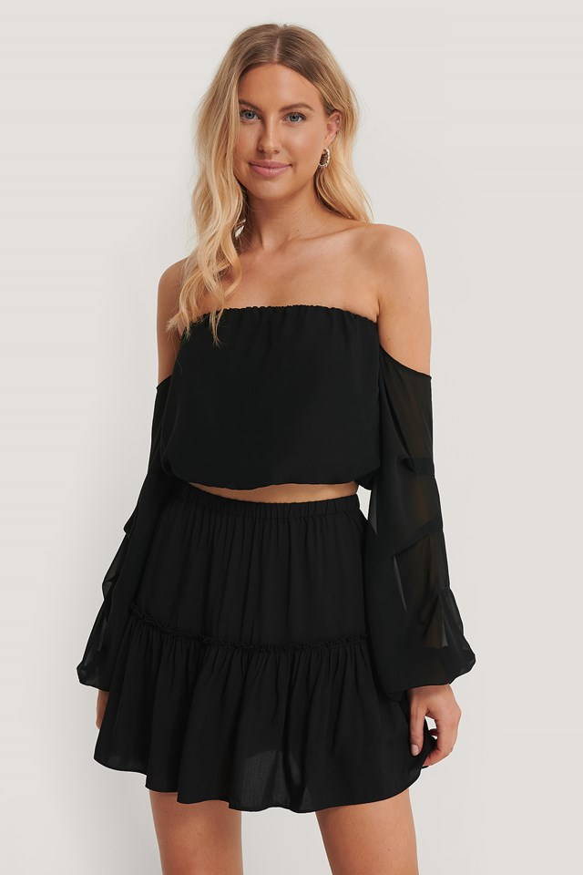Frill Mini Skirt Black