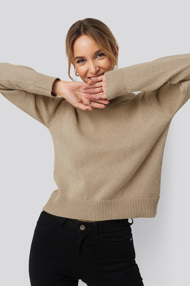 Recycled High Neck Sweater Beige