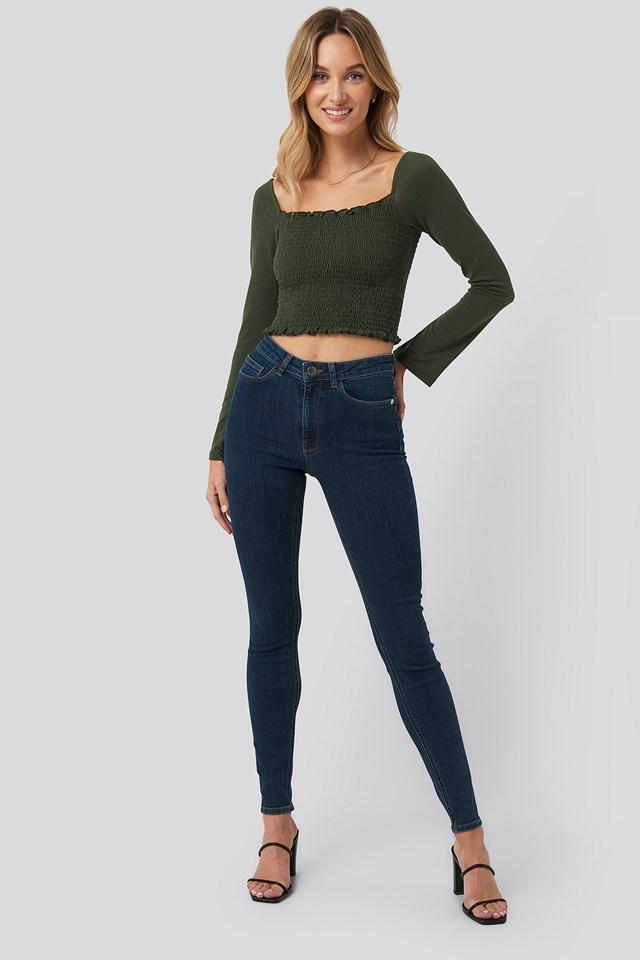 High Waist Skinny Fit Jeans Pamela x NA-KD Reborn