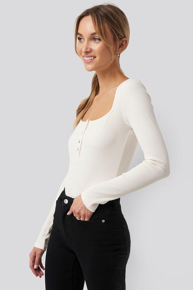 Organic Long Sleeve Button Detail Bodysuit Pamela x NA-KD Reborn