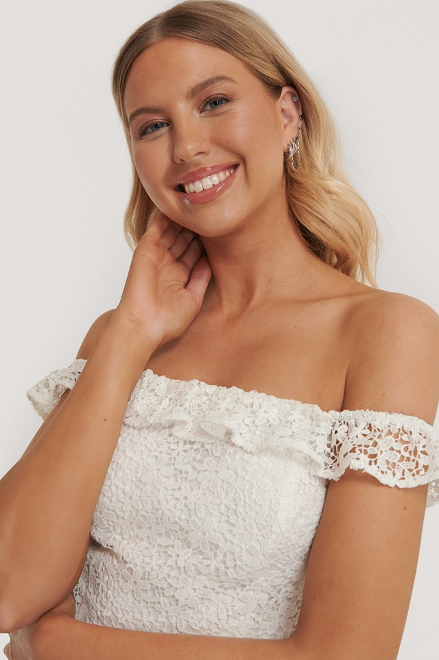 Recycled Off Shoulder Lace Top White