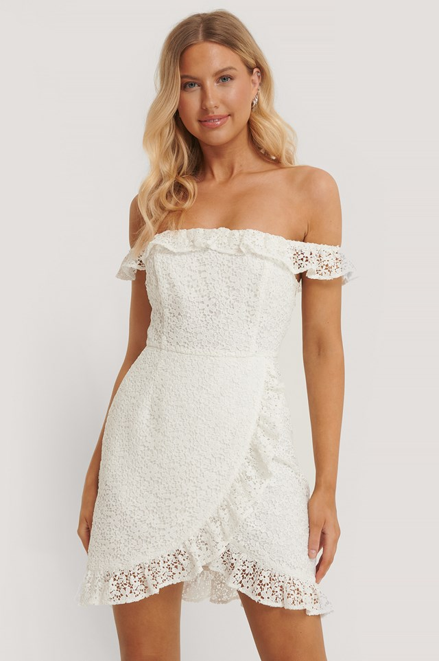 Recycled Off Shoulder Overlapped Lace Dress White