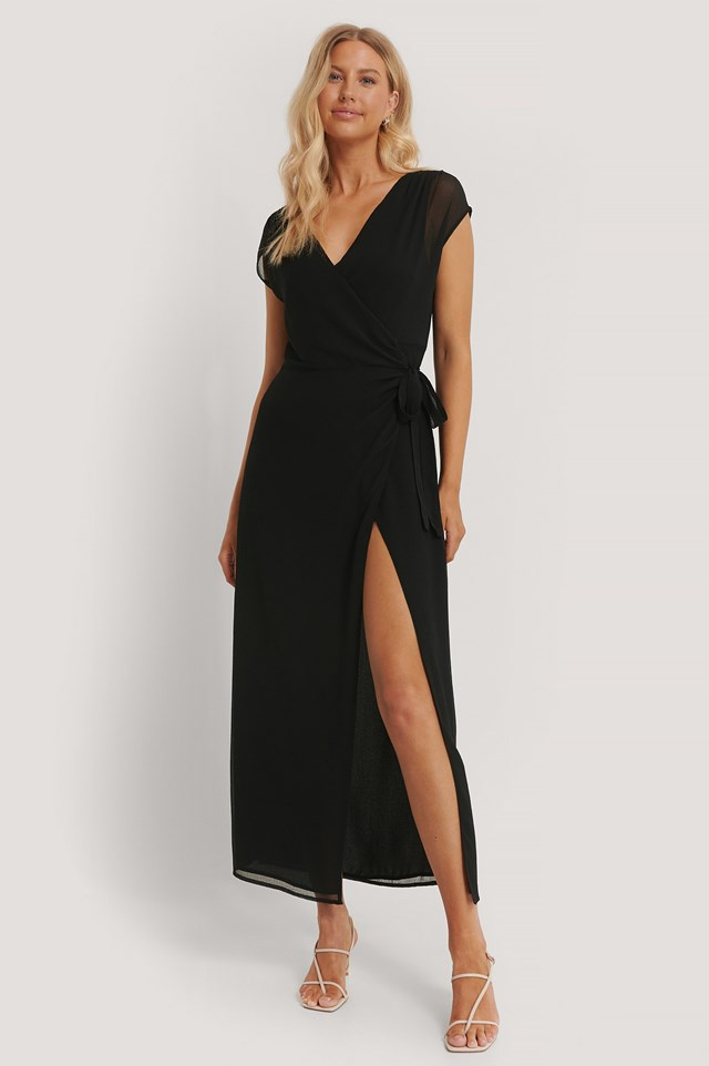 Recycled Overlapped Maxi Dress Black
