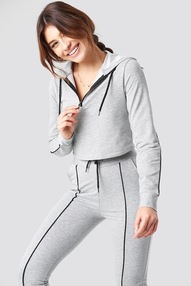 Soft Cropped Track Top Grey