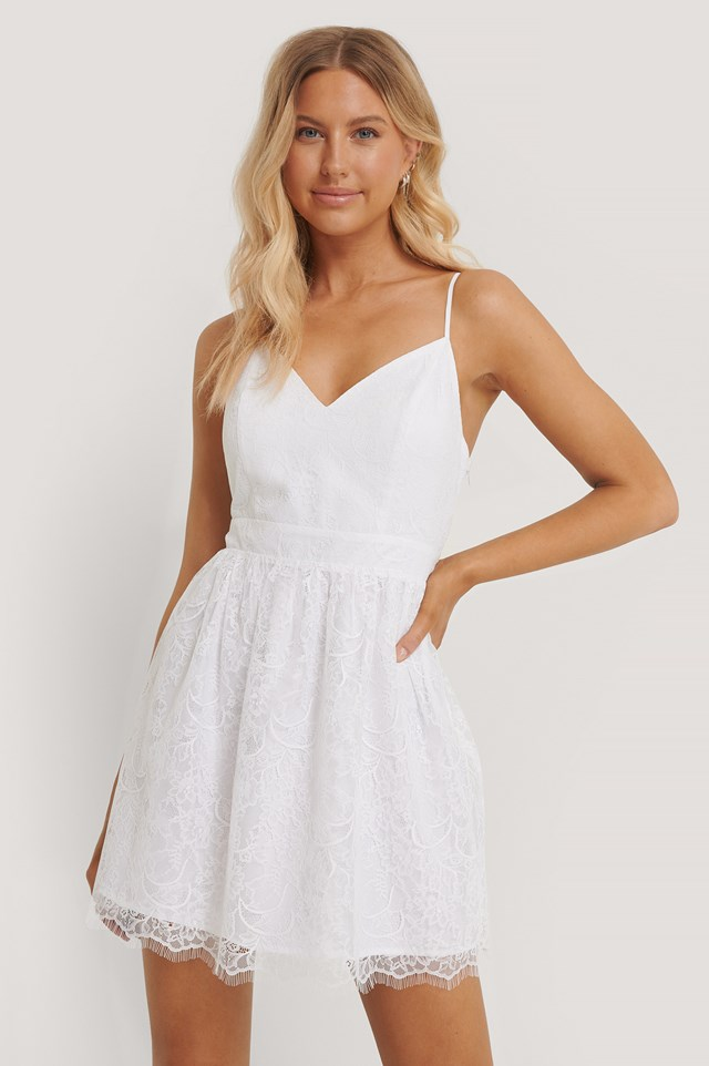 Recycled Thin Strap Lace Mini Dress White