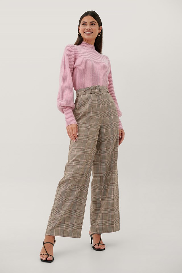 Buckle High Waist Suit Pants Checked