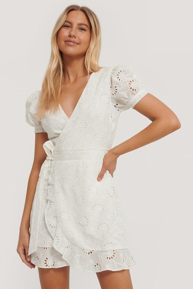 Crochet Short Sleeve Dress White