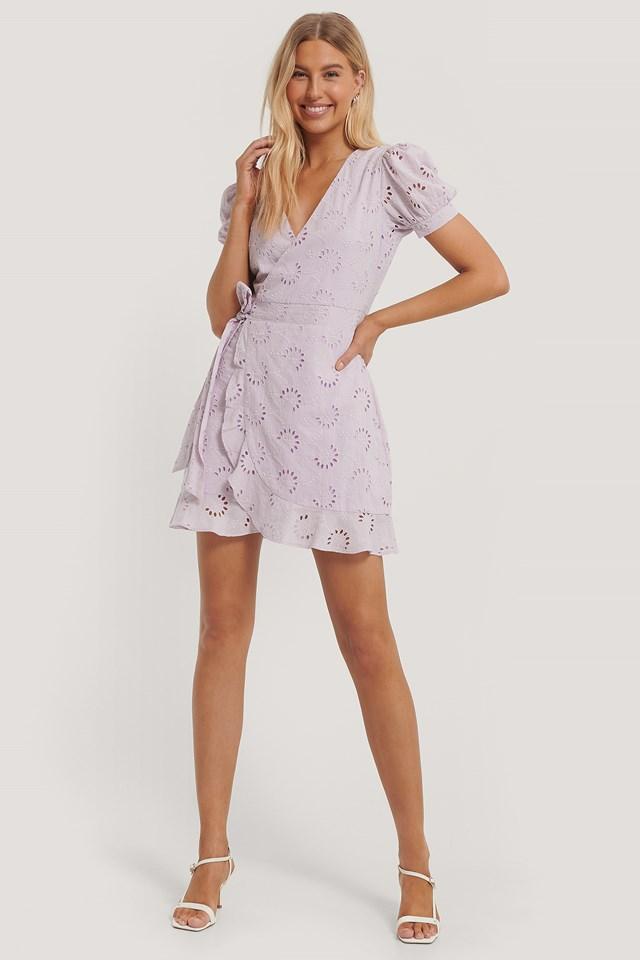 Crochet Short Sleeve Dress Lilac