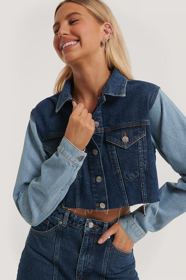 Cropped Denim Jacket Denim Blue