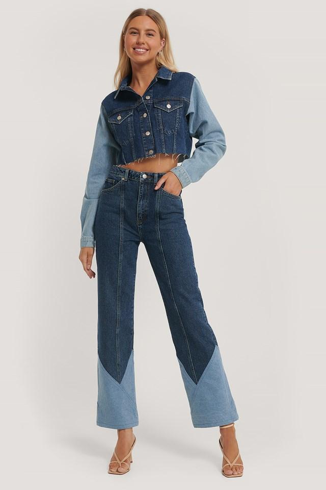 Cut And Sew Jeans Denim Blue