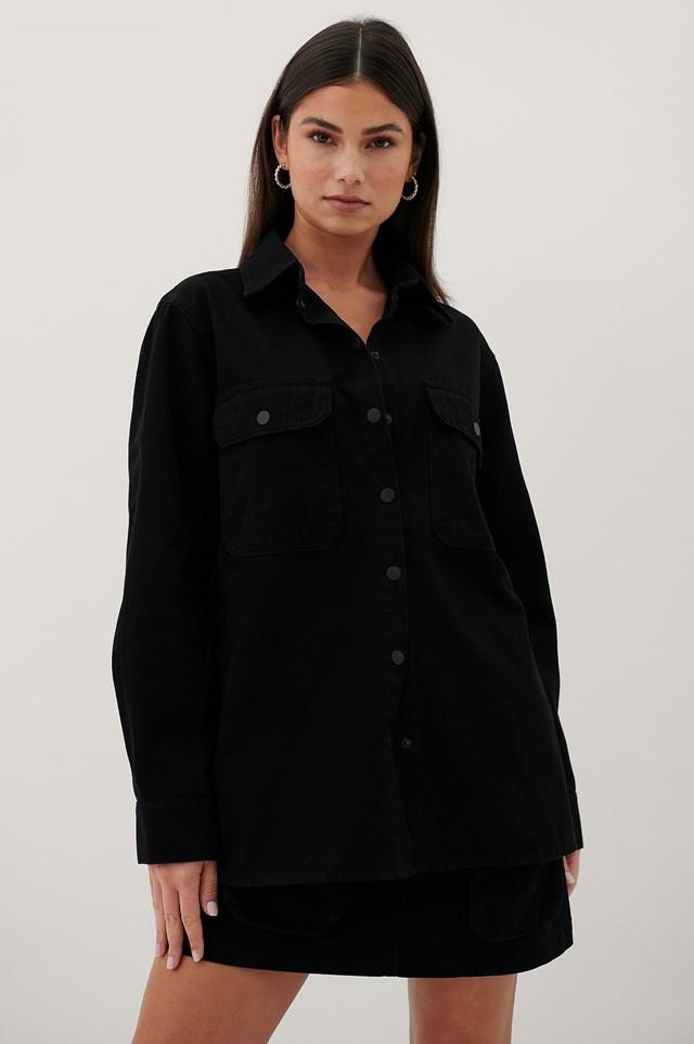 Organic Denim Pocket Shirt Black