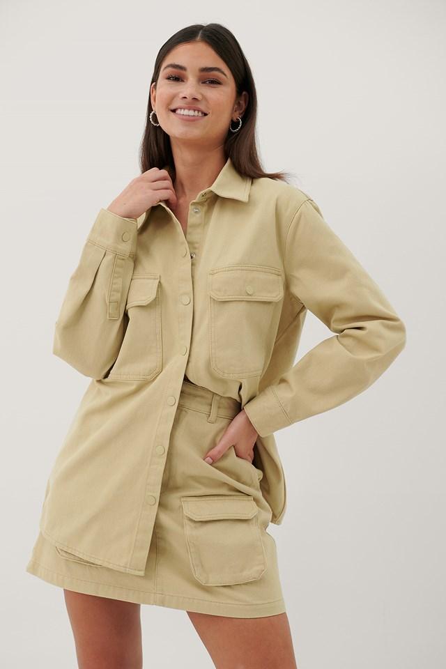 Organic Denim Pocket Shirt Beige