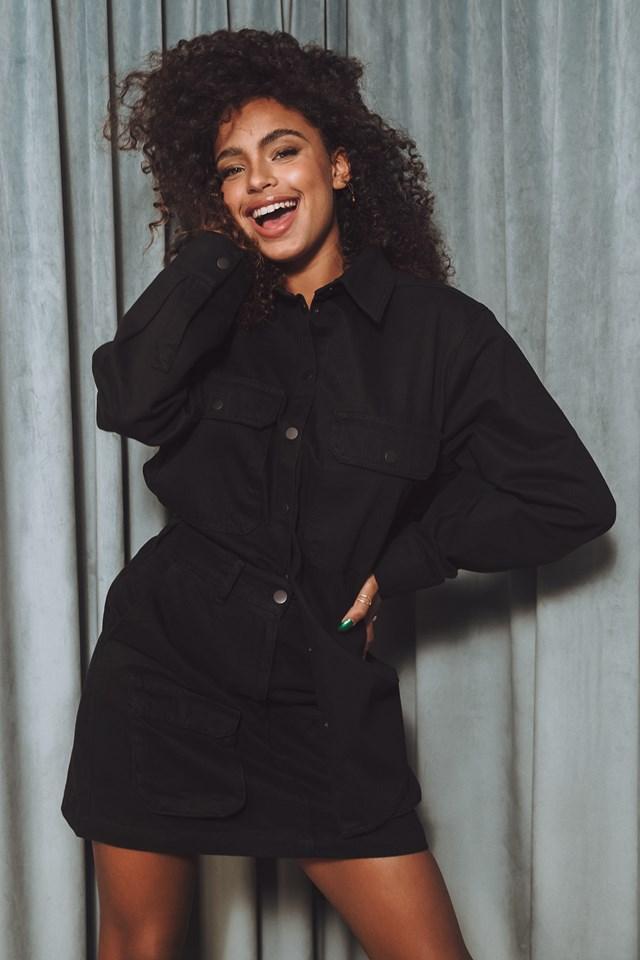 Organic Denim Pocket Skirt Black