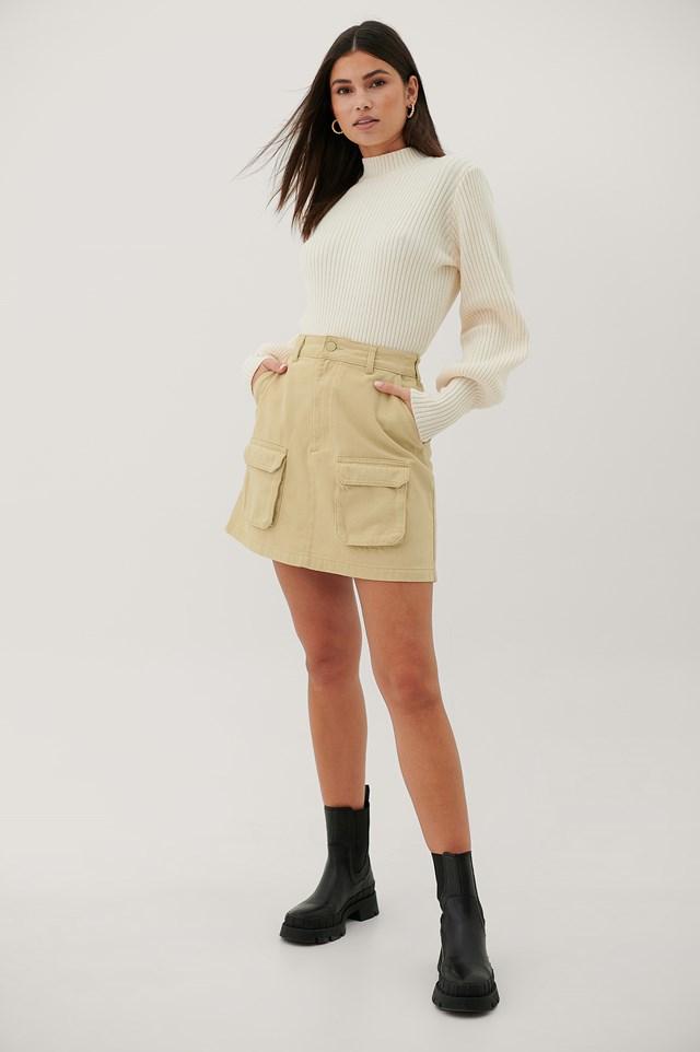 Organic Denim Pocket Skirt Beige