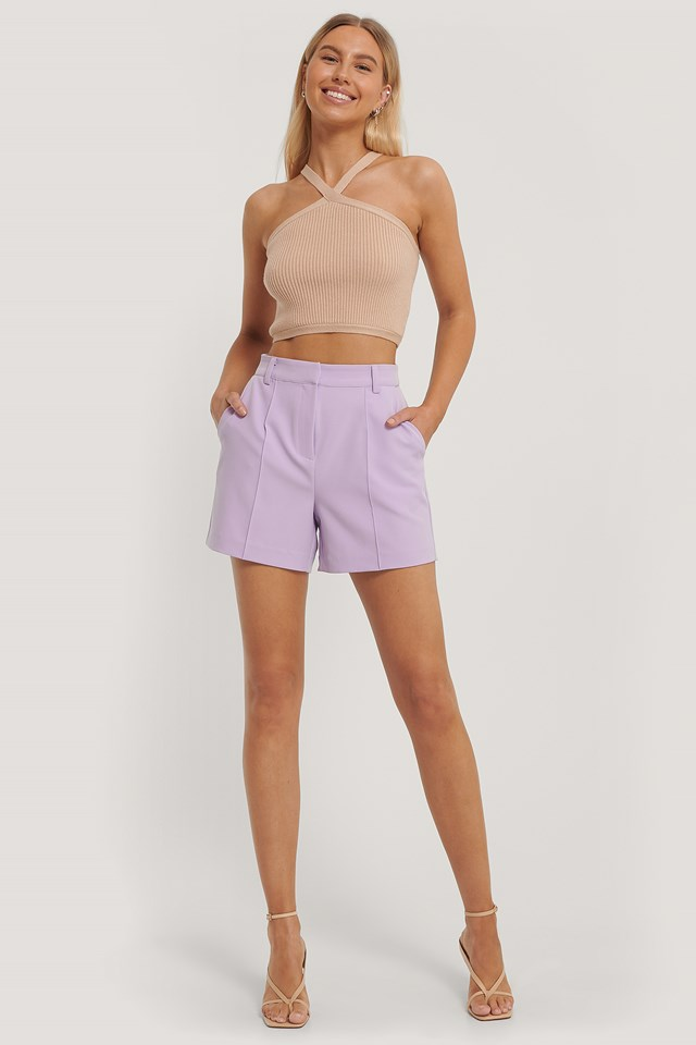 High Waisted Suit Shorts Lilac