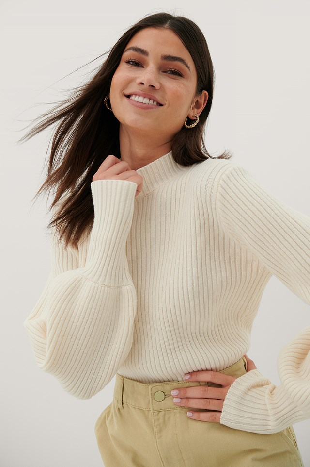 Recycled Knitted Sweater Offwhite