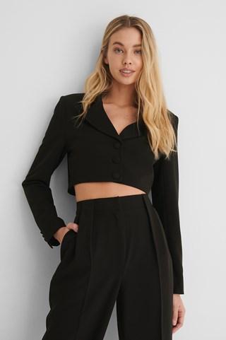 Black Marked Shoulder Cropped Blazer