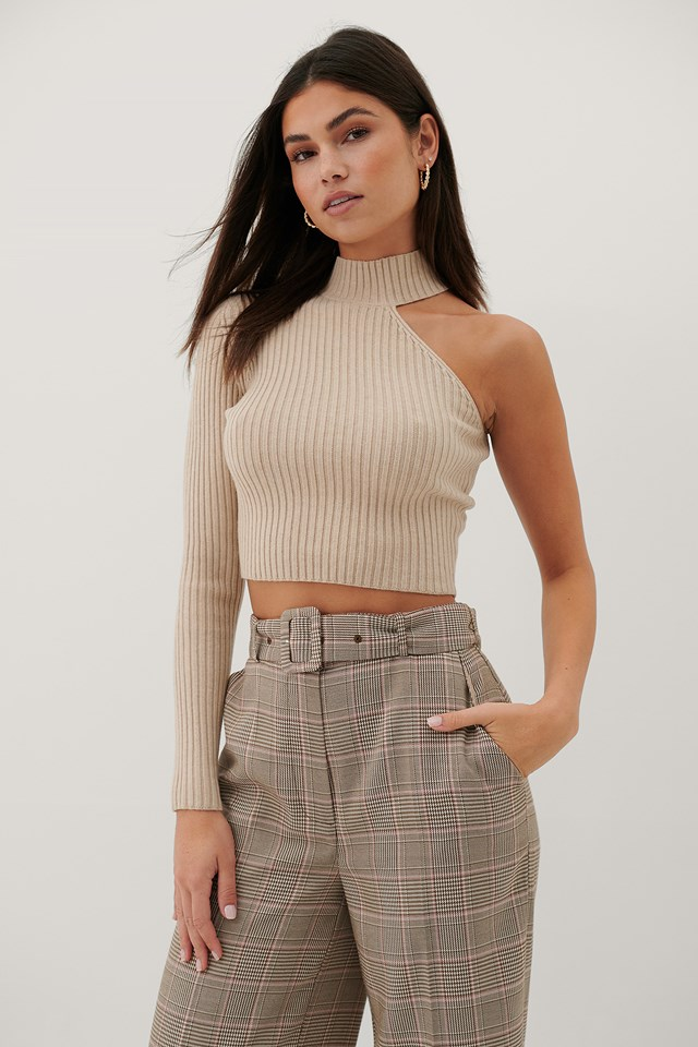 Recycled One Sleeve High Neck Top Beige