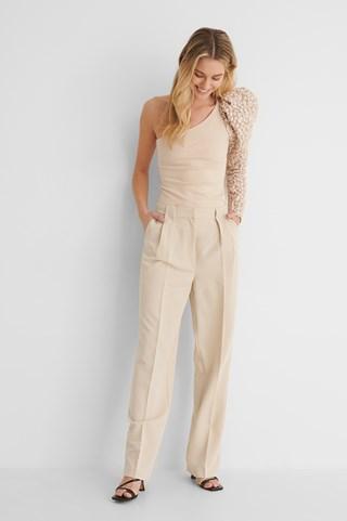 Light Beige Pleat Detail Straight Suit Pants